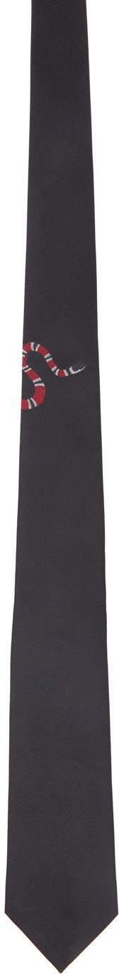 Gucci Black Silk Kingsnake Tie