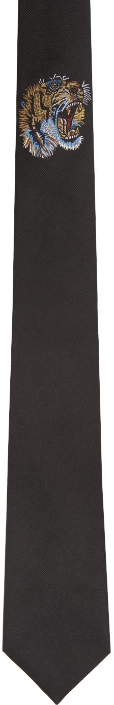 Gucci Black Silk Tiger Underknot Tie