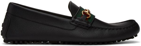 Gucci Black Web Driver Loafers