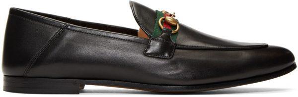 Gucci Black Web Horsebit Loafers