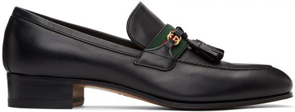 Gucci Black Web Interlocking G Loafers