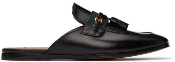 Gucci Black Web Interlocking G Slip-On Loafers