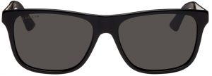 Gucci Black & Gold Rectangular Sunglasses