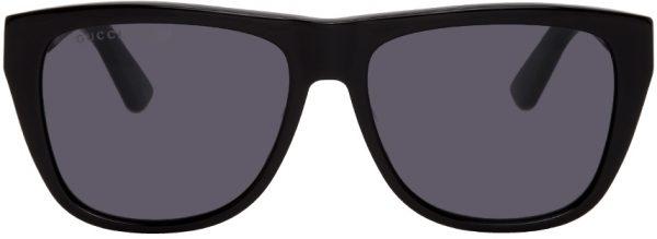 Gucci Black & Green Rectangular Sunglasses
