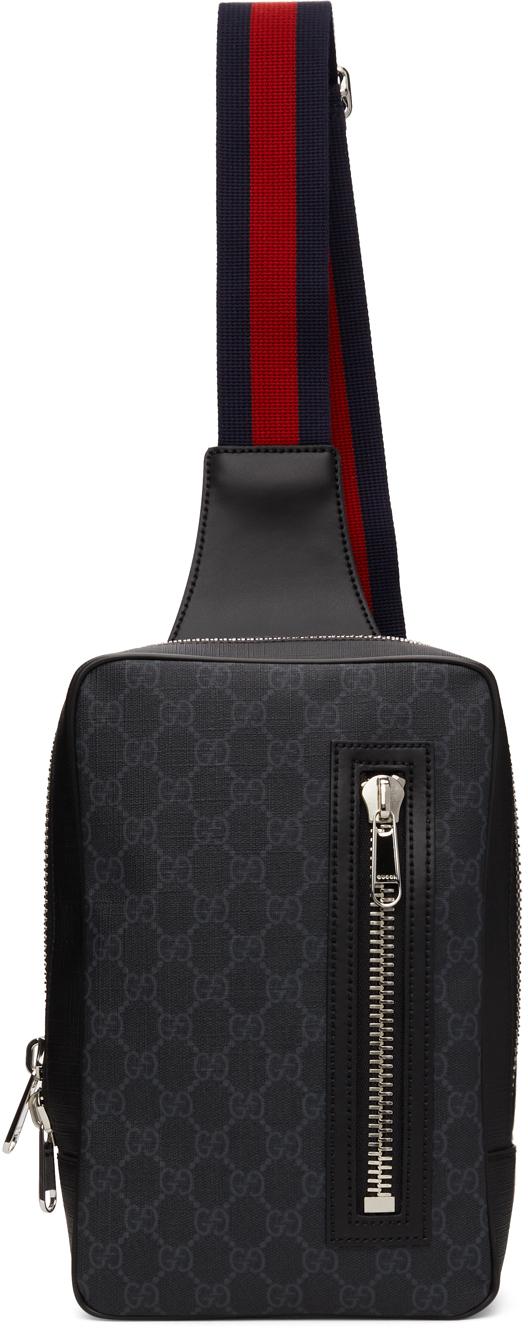 Gucci Black & Grey GG Supreme Belt Bag