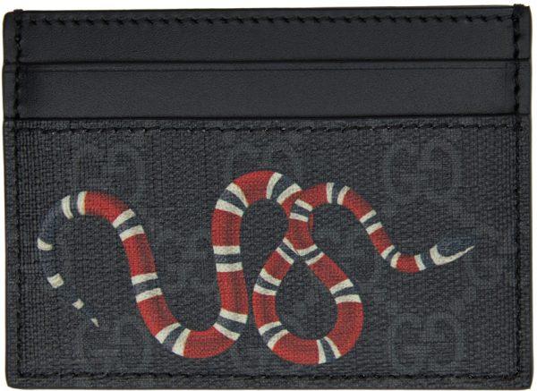 Gucci Black & Grey GG Supreme Kingsnake Card Holder