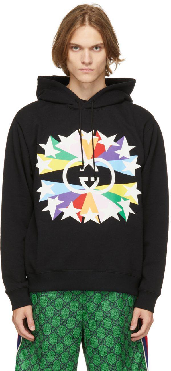 Gucci Black & Multicolor Interlocking G Star Burst Hoodie
