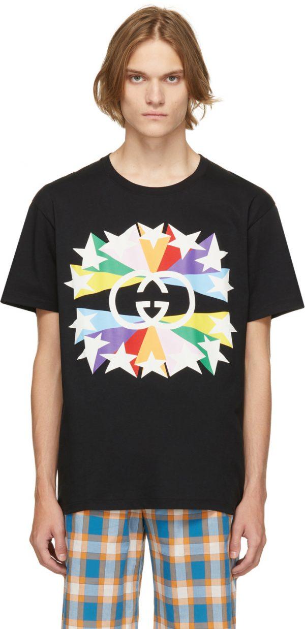 Gucci Black & Multicolor Interlocking G Star Burst T-Shirt