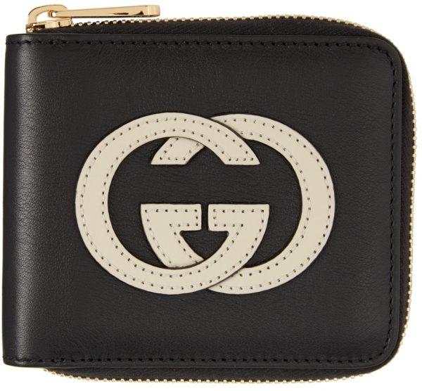 Gucci Black & Off-White GG Basic Wallet