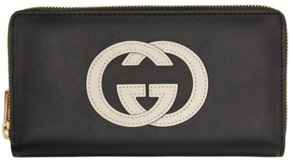 Gucci Black & Off-White GG Zip Around Wallet