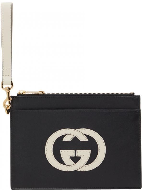 Gucci Black & Off-White Interlocking G Pouch