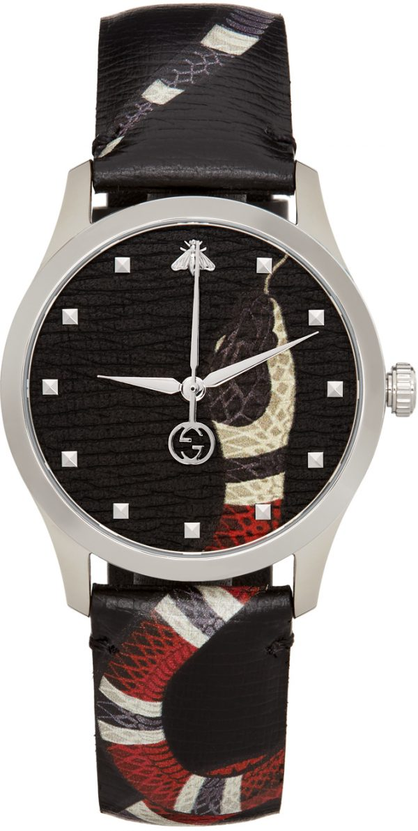 Gucci Black & Silver 38mm G-Timeless Snake Watch