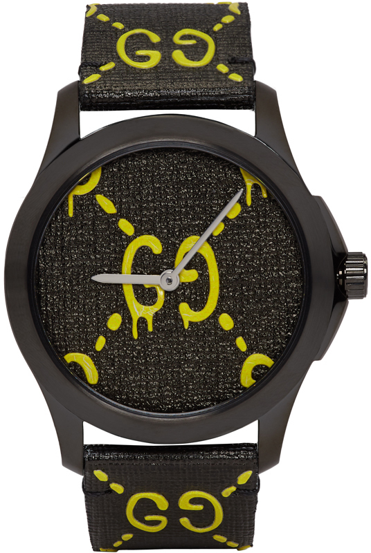 Gucci Black & Yellow G-Timeless 'GucciGhost' Watch
