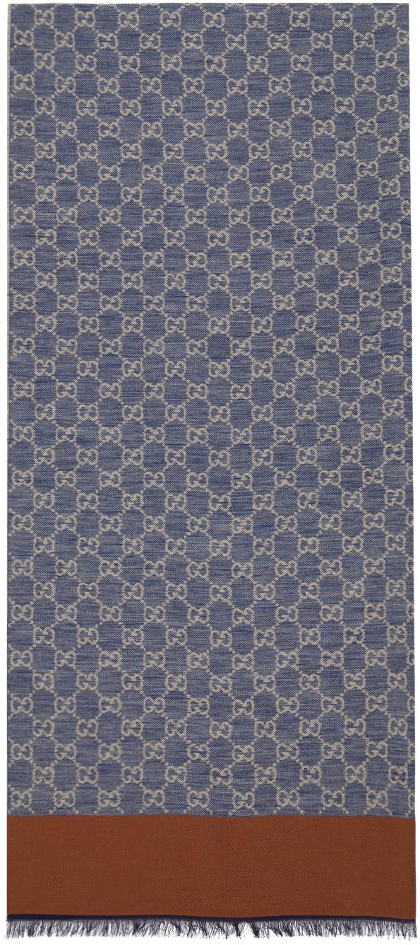 Gucci Blue Cotton Jacquard GG Scarf