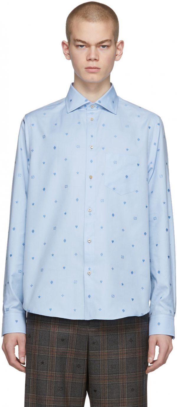 Gucci Blue Cotton Symbols Shirt