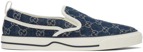 Gucci Blue Denim 'Gucci Tennis 1977' Slip-On Sneakers