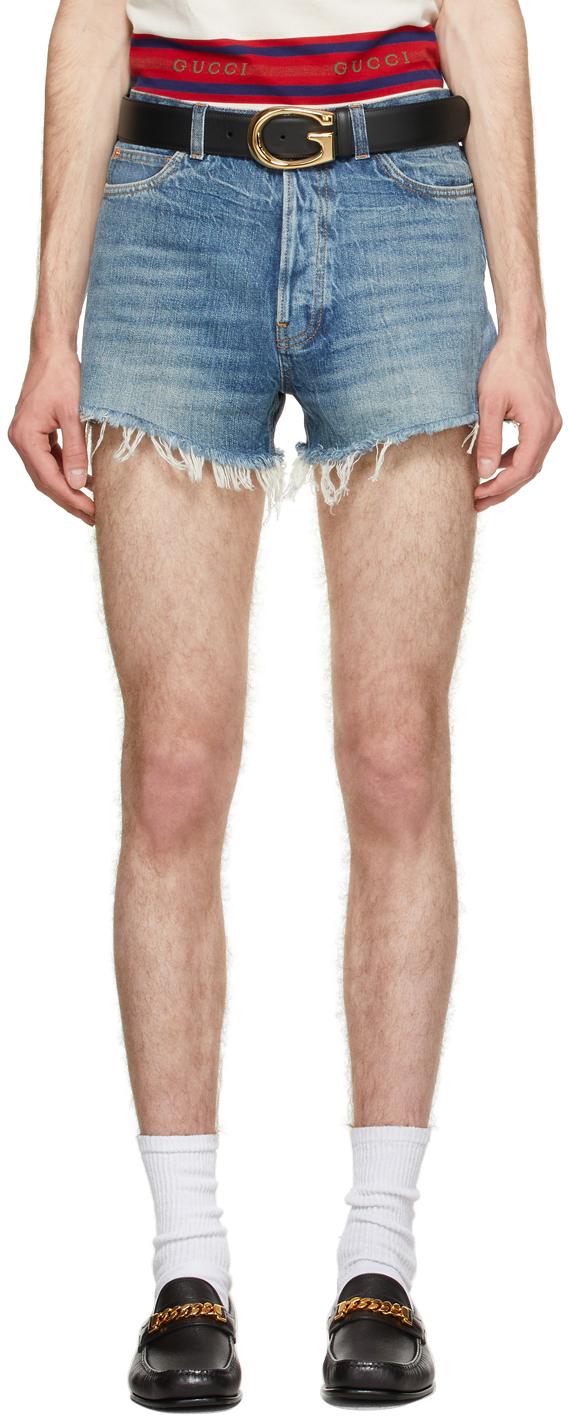 Gucci Blue Eco Resinated Denim Shorts
