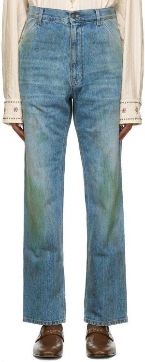 Gucci Blue Eco Wash 'Maison de l'Amour Firenze' Organic Jeans