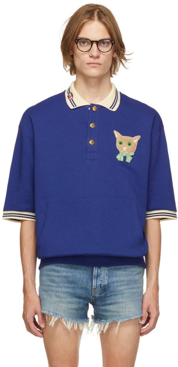Gucci Blue GG Cat Polo