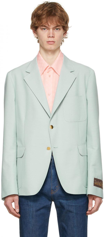 Gucci Blue 'Gucci Eschatology' Cotton & Mohair Blazer