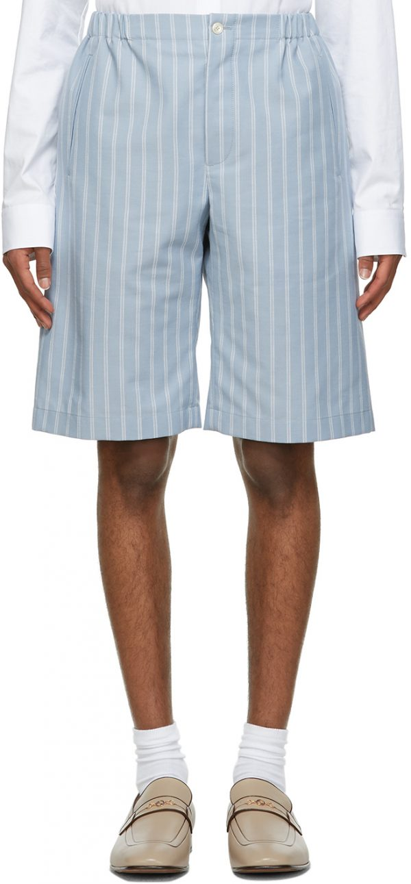 Gucci Blue Mohair & Wool Double Striped Shorts