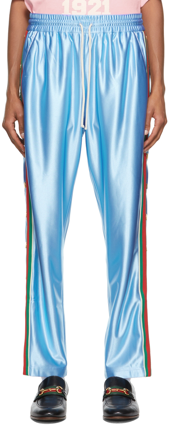 Gucci Blue Shiny Jogging Lounge Pants