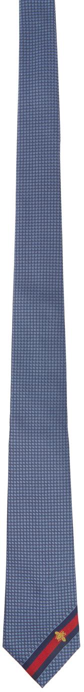 Gucci Blue Silk Bee Web Tie
