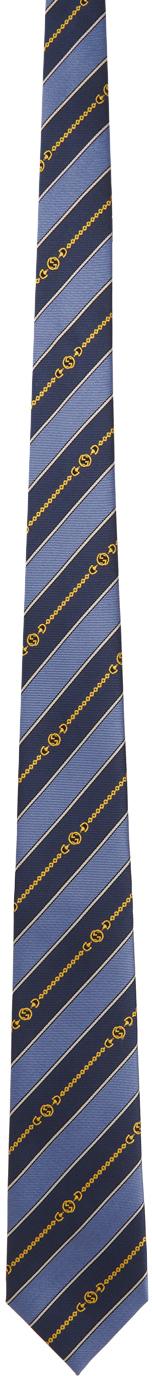 Gucci Blue Silk Interlocking G Chain Tie