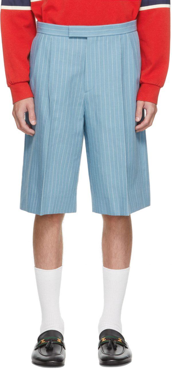 Gucci Blue Wool Pinstripe Shorts