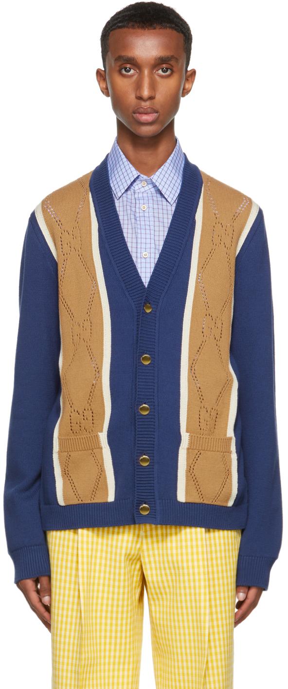 Gucci Blue & Beige GG Stitch Cardigan