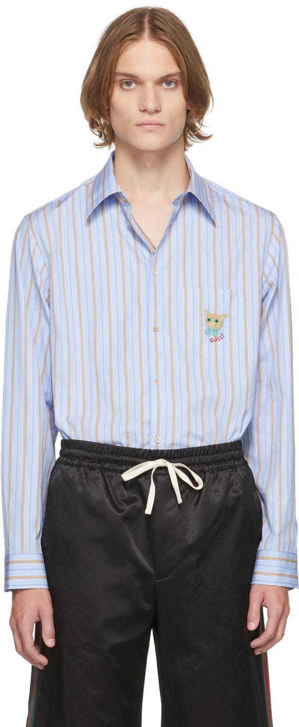 Gucci Blue & Beige Striped Cat Patch Boxy Shirt