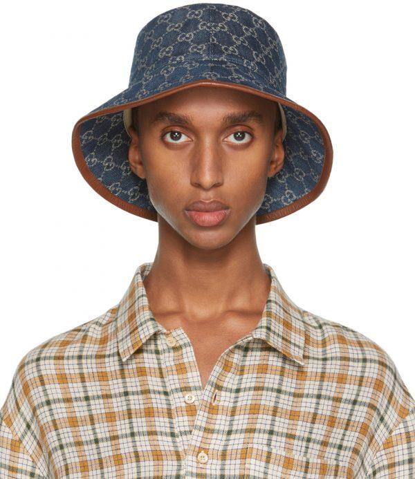 Gucci Blue & Brown Canvas GG Bucket Hat
