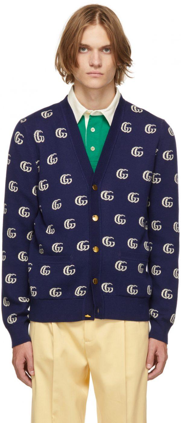 Gucci Blue & Off-White GG Cardigan