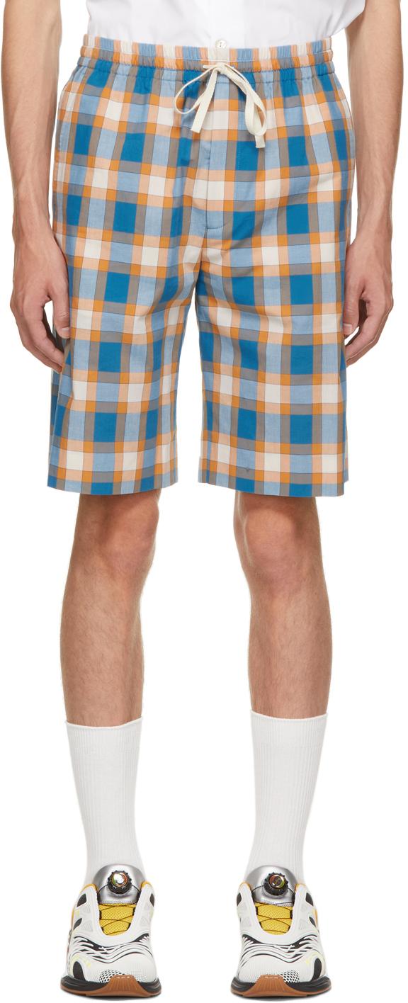 Gucci Blue & Orange Check Shorts