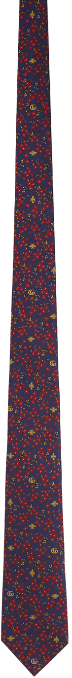 Gucci Blue & Red Silk Flowers Bees Tie