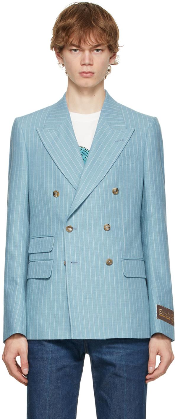 Gucci Blue & White 'Gucci Eschatology' Stripe Patch Blazer