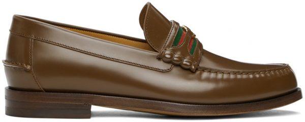 Gucci Brown Interlocking G Loafers