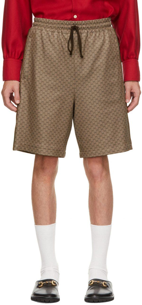 Gucci Brown Jersey Mini GG Shorts