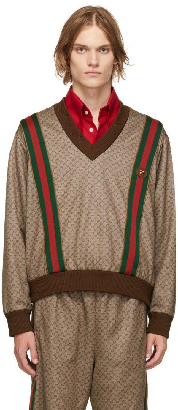 Gucci Brown Jersey Mini GG V-Neck Sweater