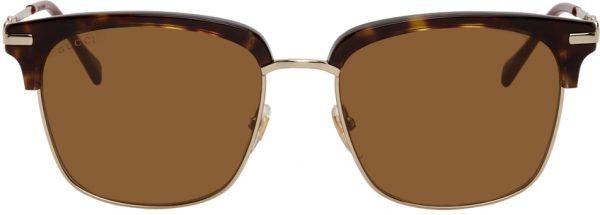 Gucci Brown & Gold Square Sunglasses