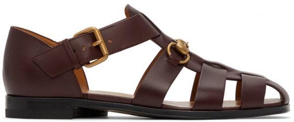 Gucci Burgundy Horsebit Sandals