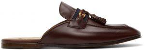 Gucci Burgundy Web Interlocking G Slip-On Loafers