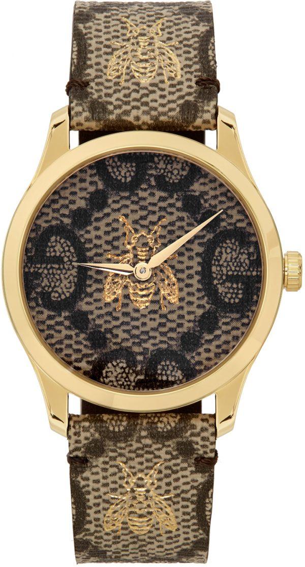 Gucci Gold & Beige G-Timeless Bee Watch