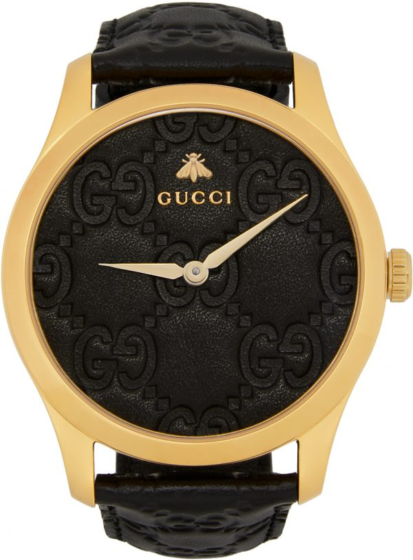 Gucci Gold & Black Embossed G-Timeless Watch