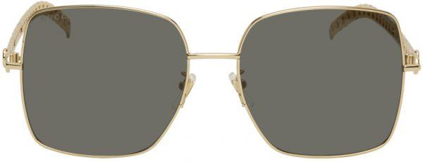 Gucci Gold & Black Runway Chains Sunglasses