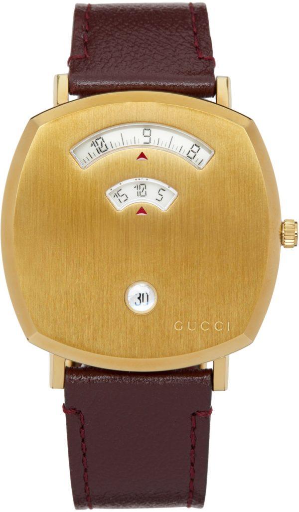 Gucci Gold & Brown Grip Watch