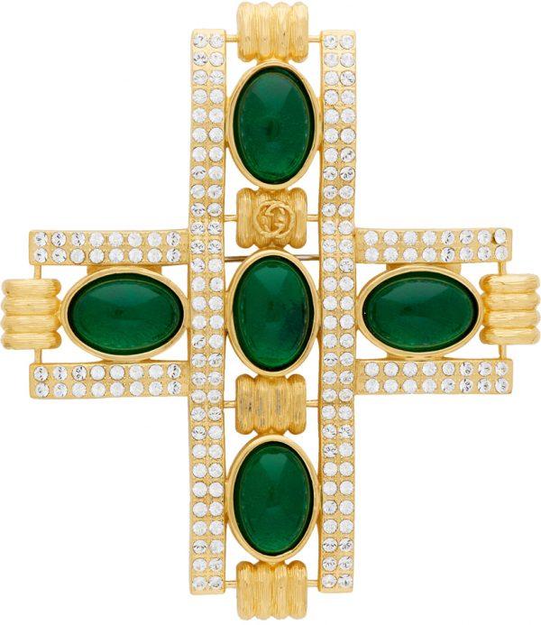 Gucci Gold & Green Cabochon Stone Cross Brooch
