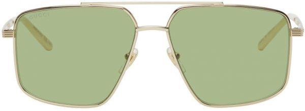Gucci Gold & Green Shiny Endura Sunglasses