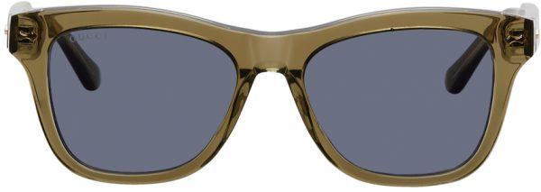 Gucci Green Acetate Square Sunglasses