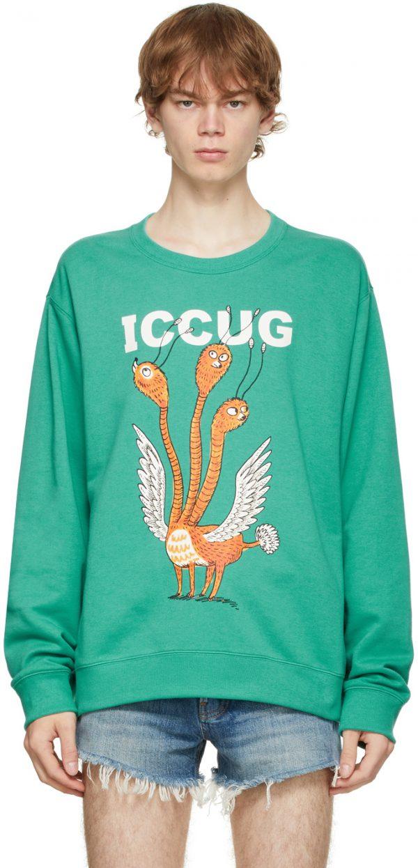 Gucci Green Freya Hartas Edition 'ICCUG' Sweatshirt